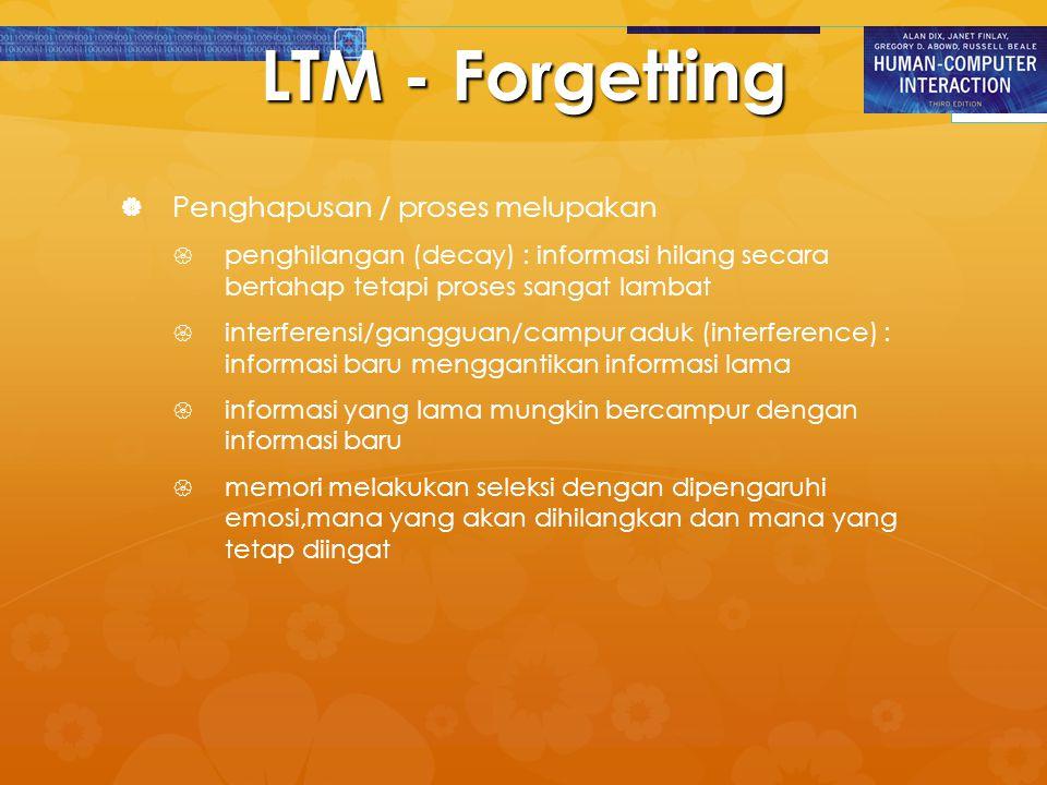 LTM - Forgetting Penghapusan / proses melupakan