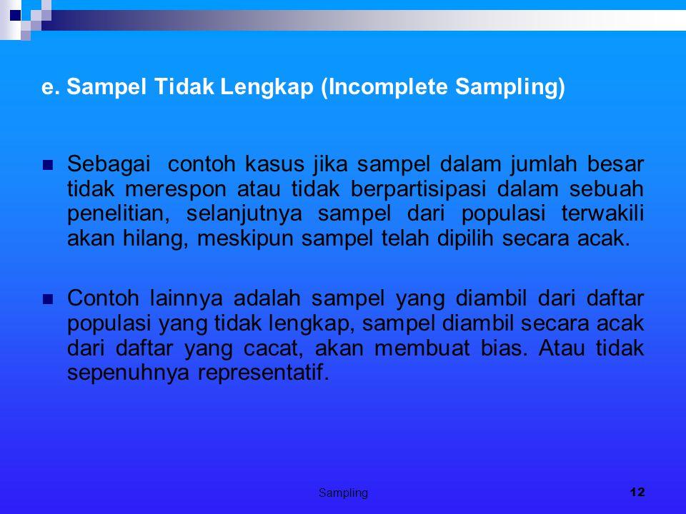e. Sampel Tidak Lengkap (Incomplete Sampling)