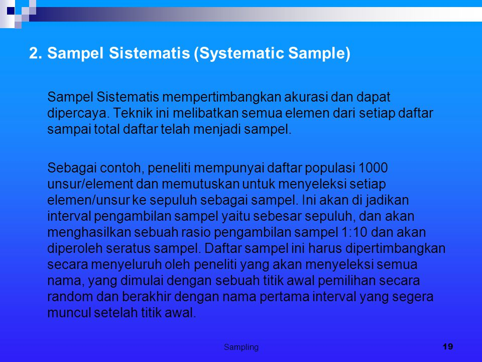 2. Sampel Sistematis (Systematic Sample)