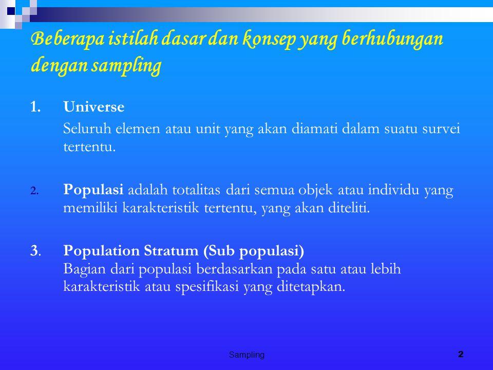 Beberapa istilah dasar dan konsep yang berhubungan dengan sampling
