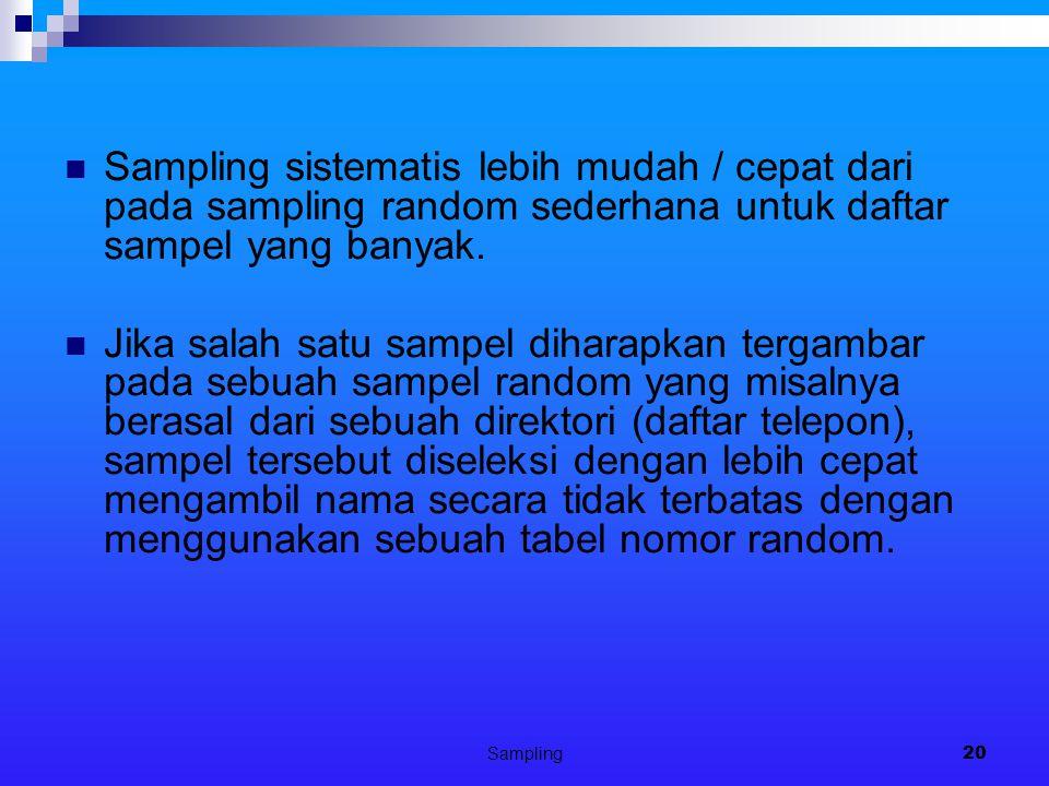 Sampling sistematis lebih mudah / cepat dari pada sampling random sederhana untuk daftar sampel yang banyak.