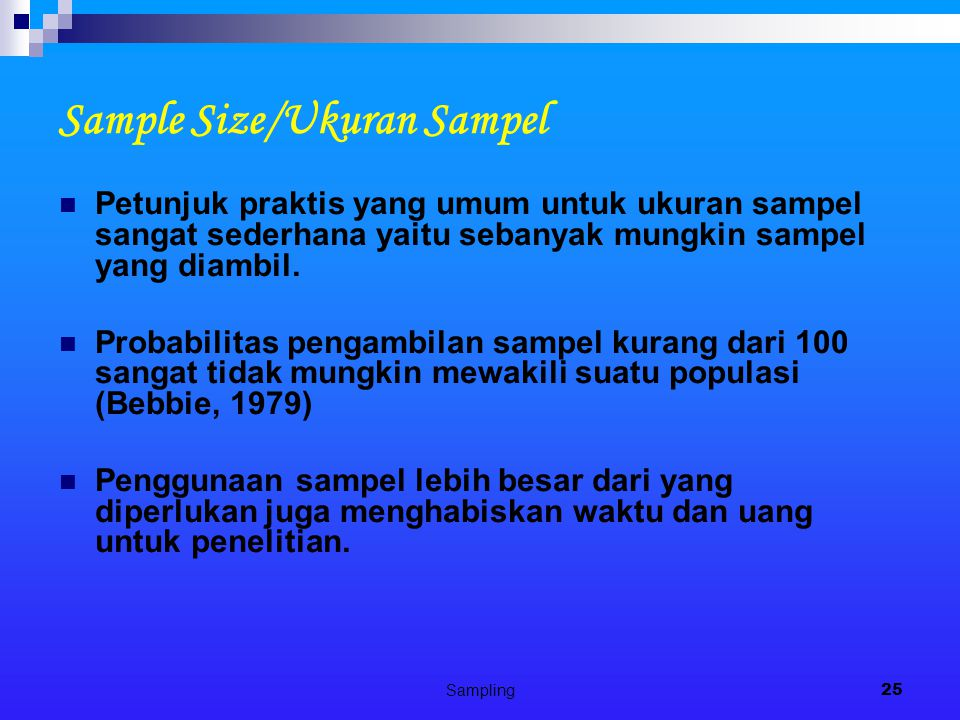 Sample Size/Ukuran Sampel