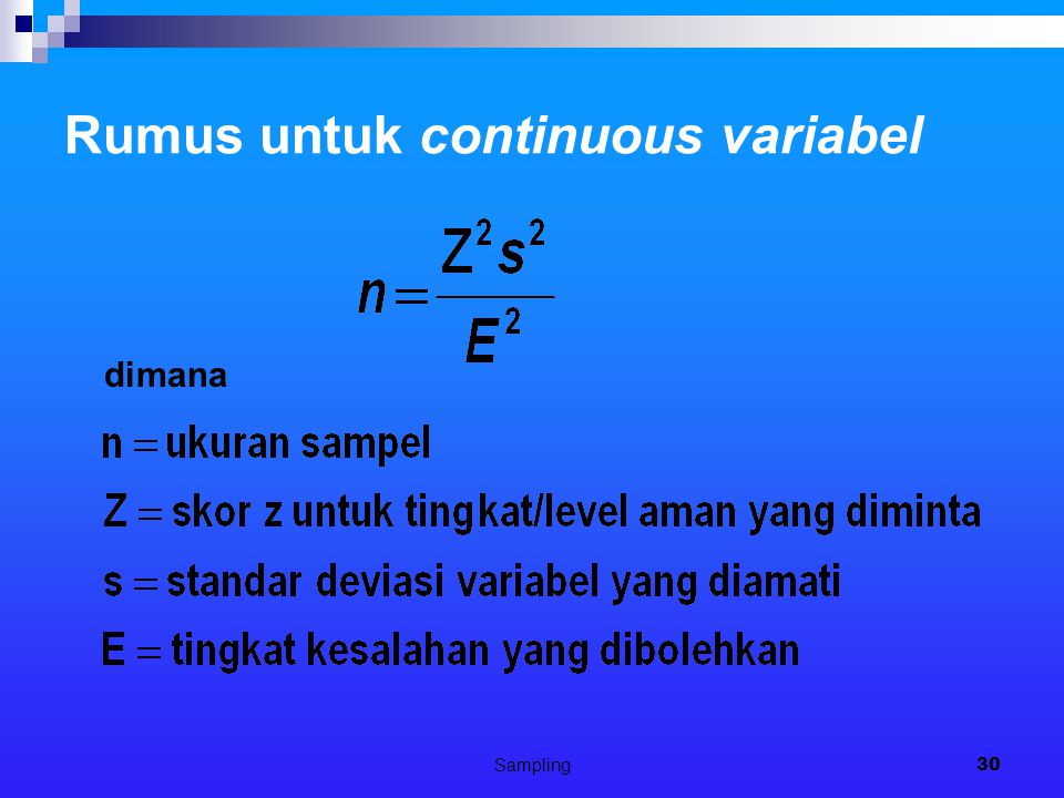 Rumus untuk continuous variabel
