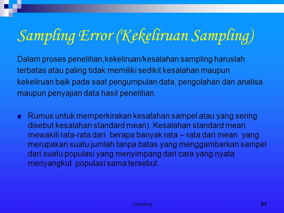 Sampling Error (Kekeliruan Sampling)