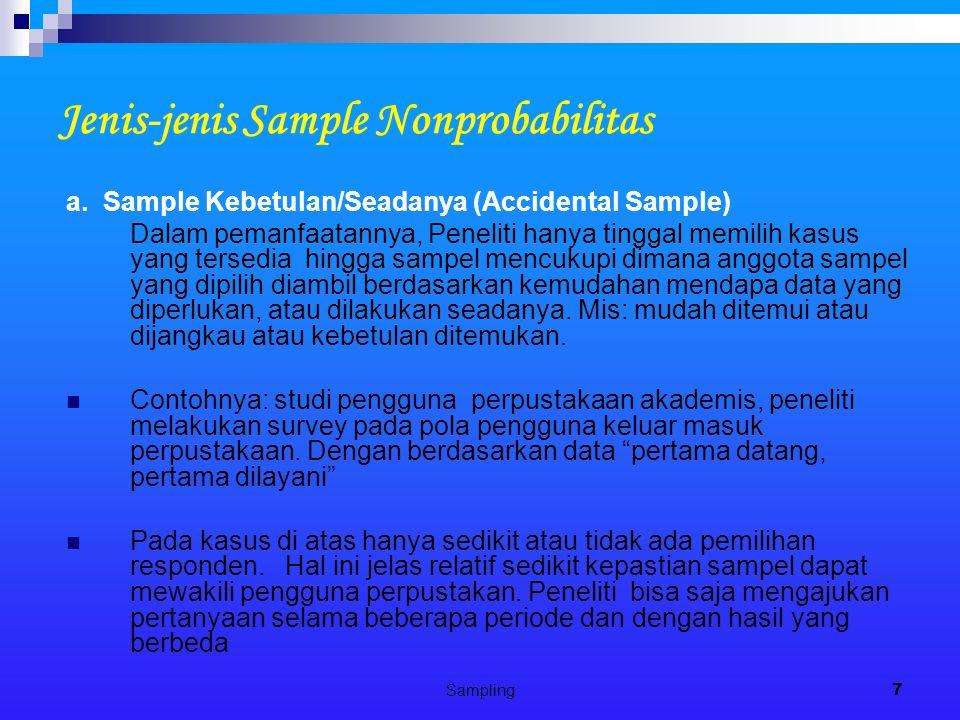 Jenis-jenis Sample Nonprobabilitas