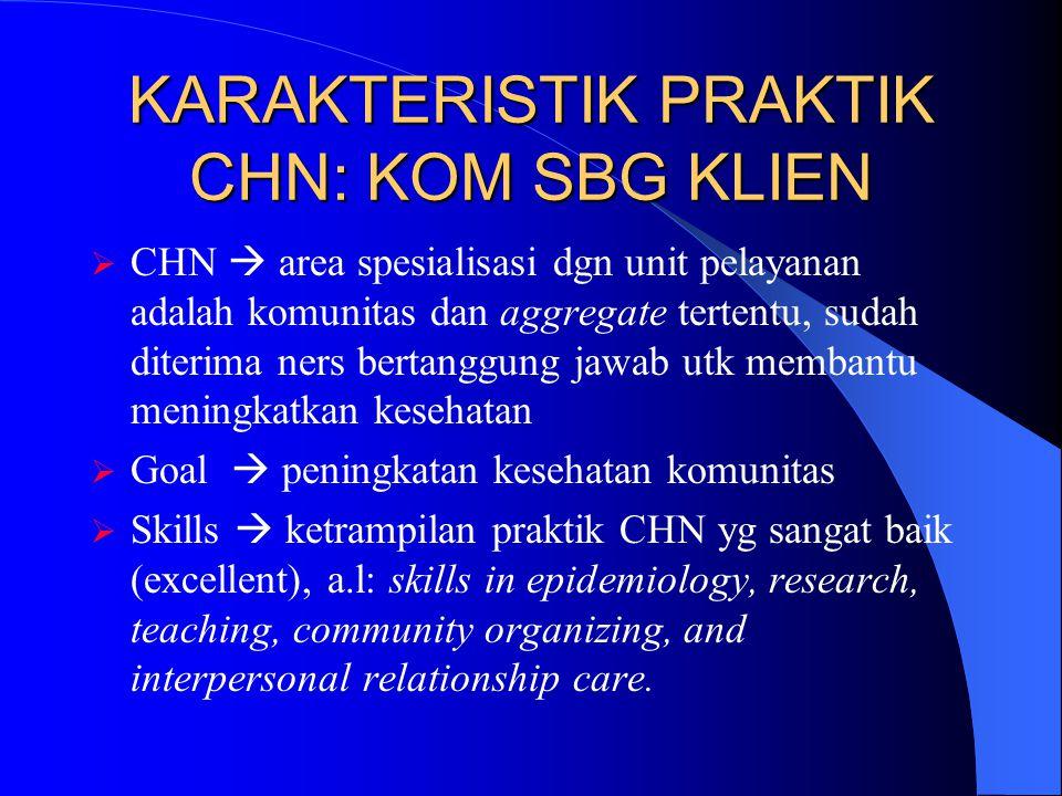 KARAKTERISTIK PRAKTIK CHN: KOM SBG KLIEN