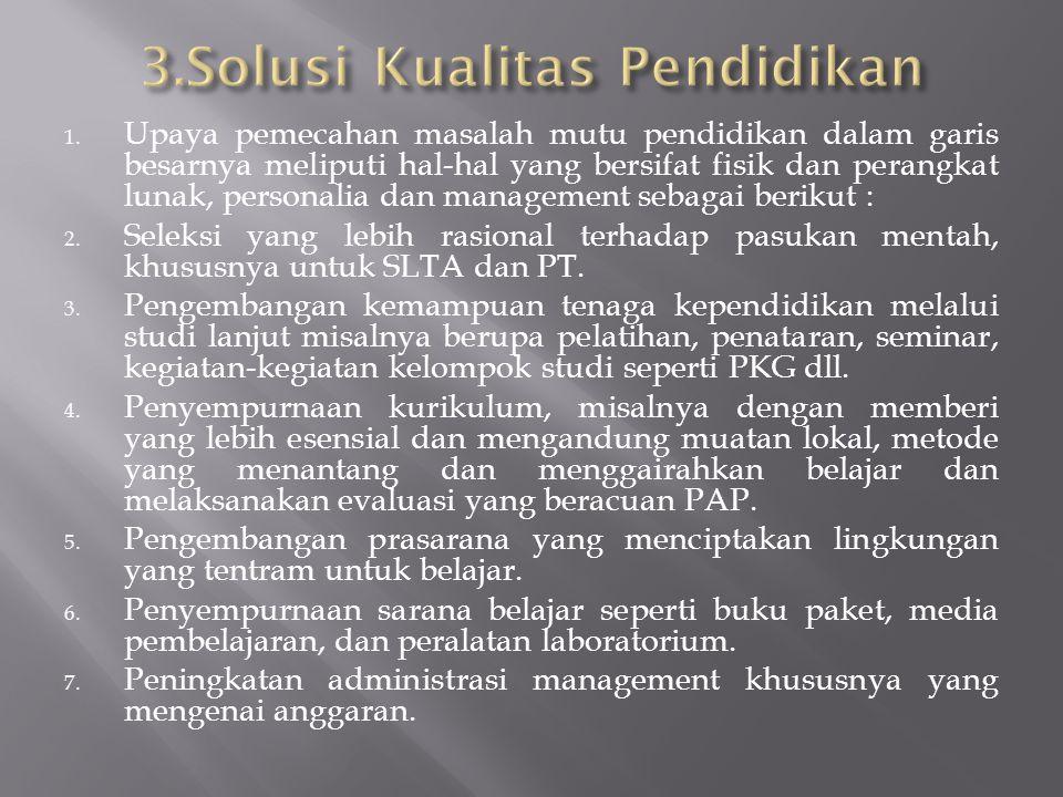 3.Solusi Kualitas Pendidikan