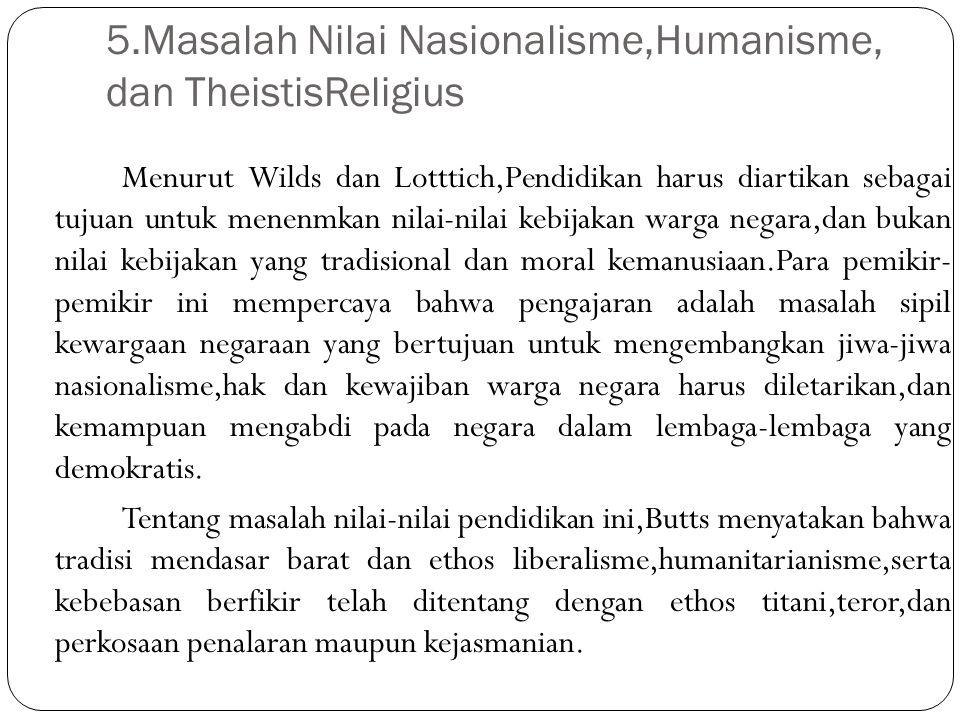 5.Masalah Nilai Nasionalisme,Humanisme, dan TheistisReligius