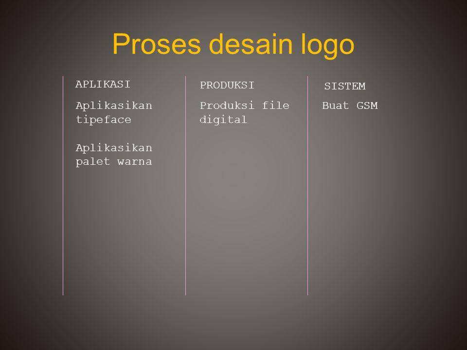 Proses desain logo APLIKASI PRODUKSI SISTEM Aplikasikan tipeface