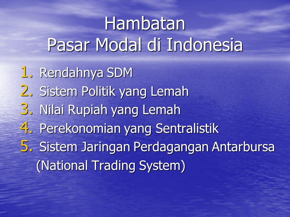 Hambatan Pasar Modal di Indonesia