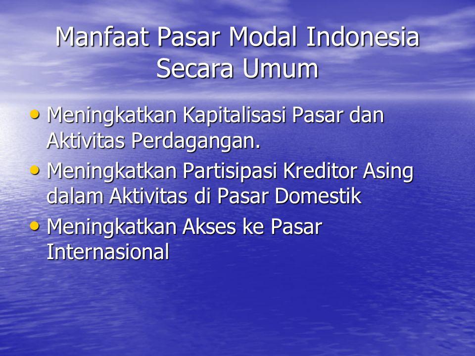 Manfaat Pasar Modal Indonesia Secara Umum