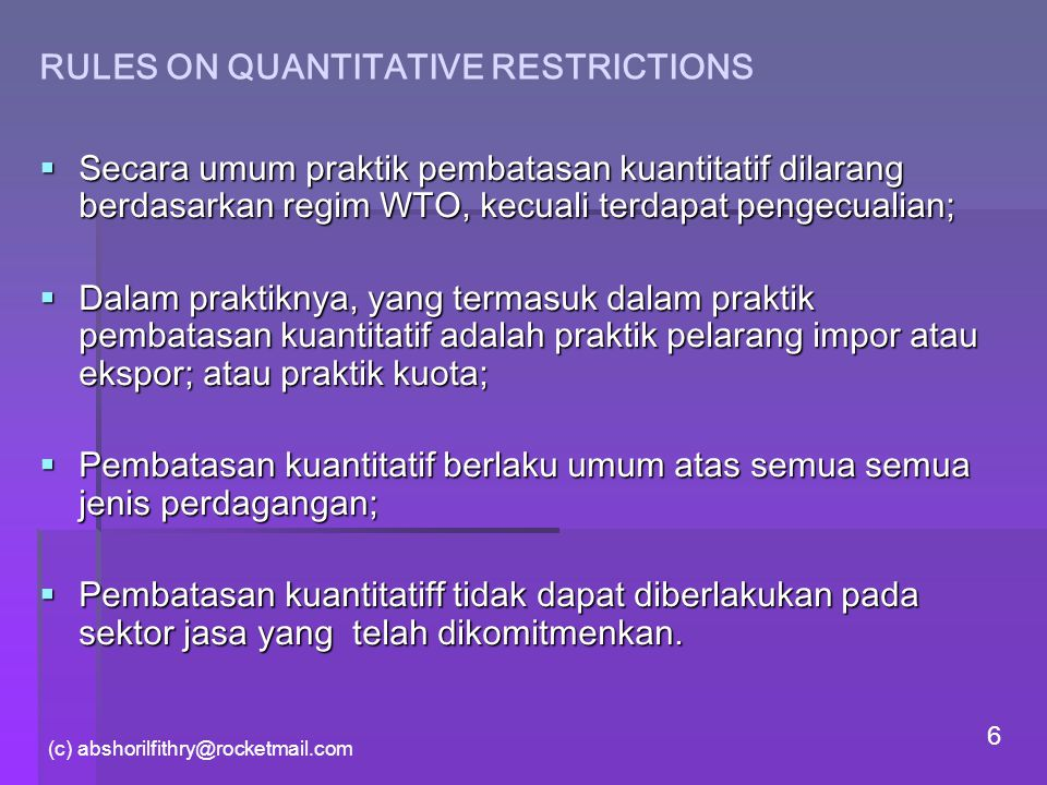 RULES ON QUANTITATIVE RESTRICTIONS