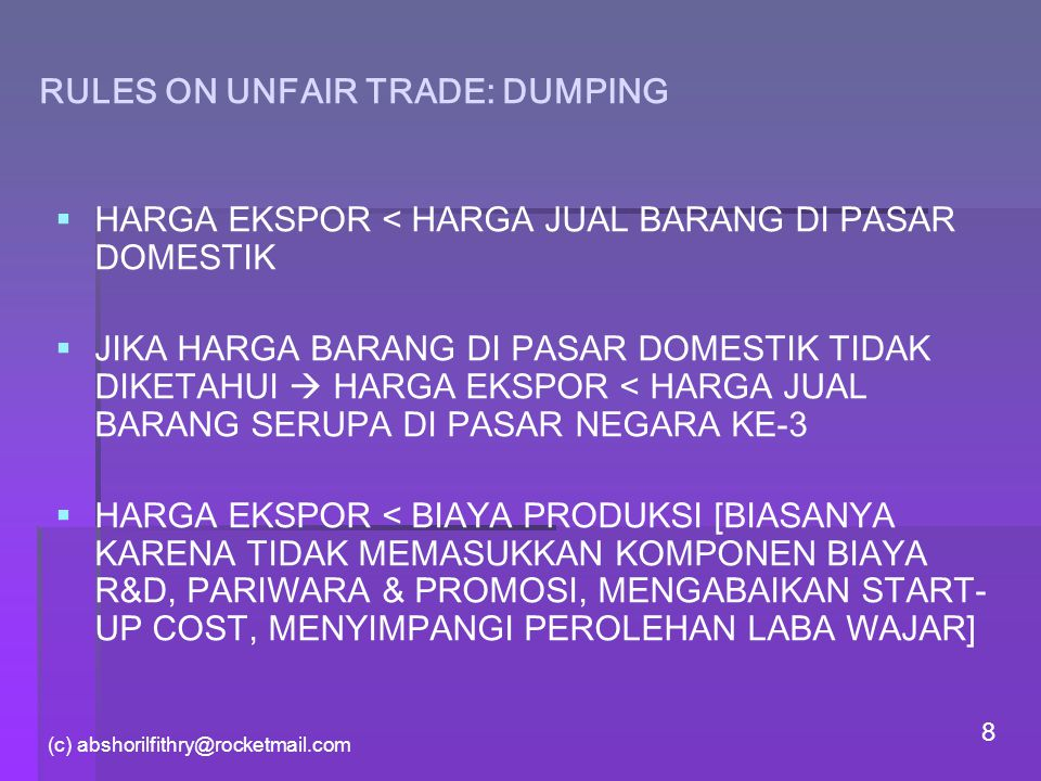 RULES ON UNFAIR TRADE: DUMPING