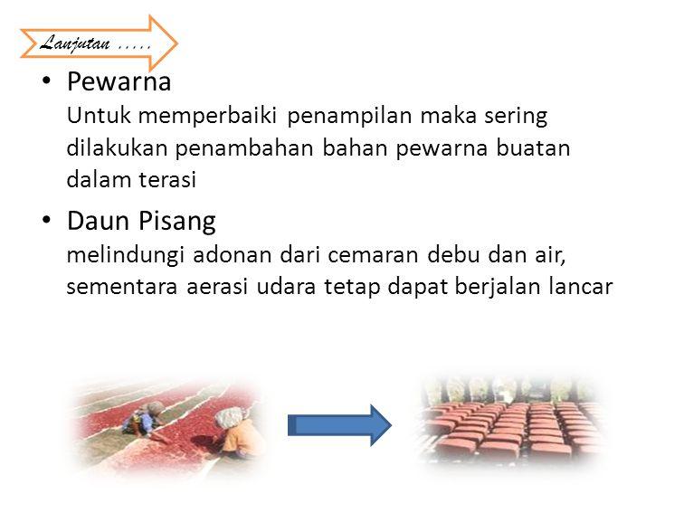 Lanjutan ..... Pewarna Untuk memperbaiki penampilan maka sering dilakukan penambahan bahan pewarna buatan dalam terasi.