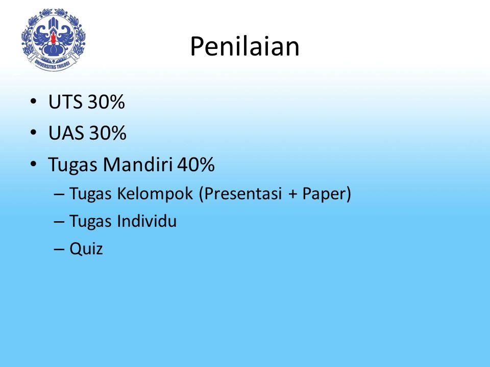 Penilaian UTS 30% UAS 30% Tugas Mandiri 40%