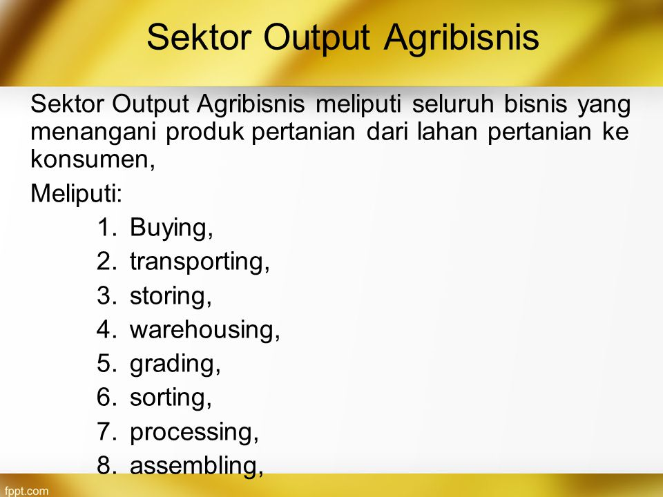 Sektor Output Agribisnis