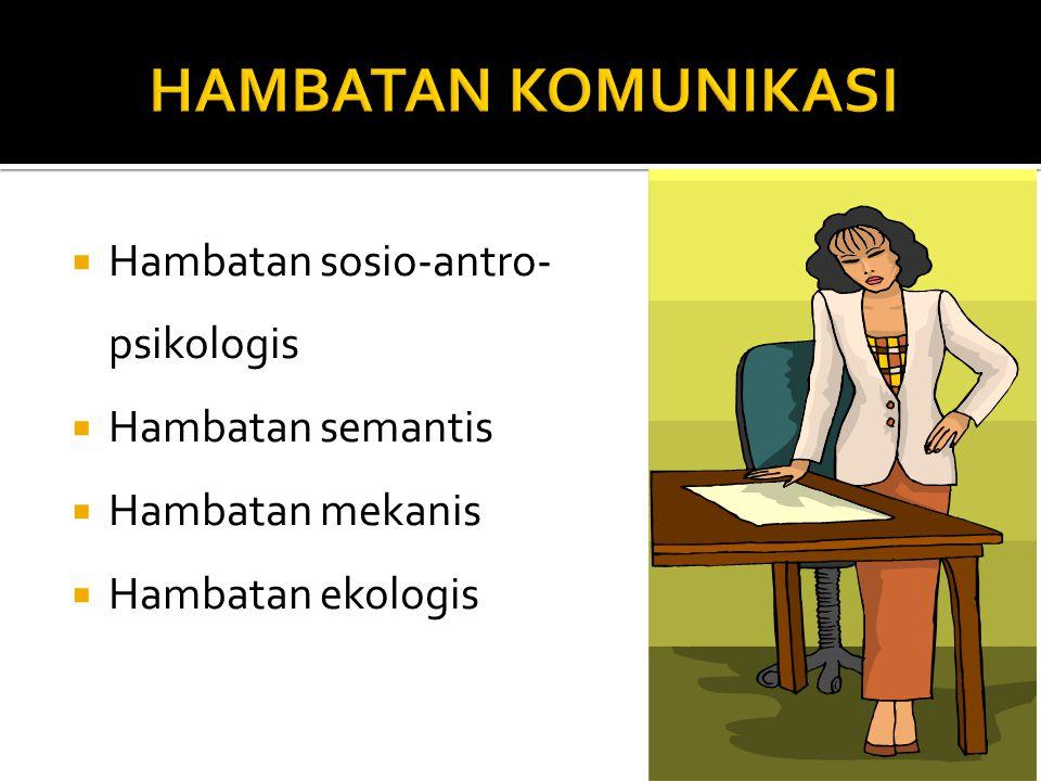 HAMBATAN KOMUNIKASI Hambatan sosio-antro-psikologis Hambatan semantis