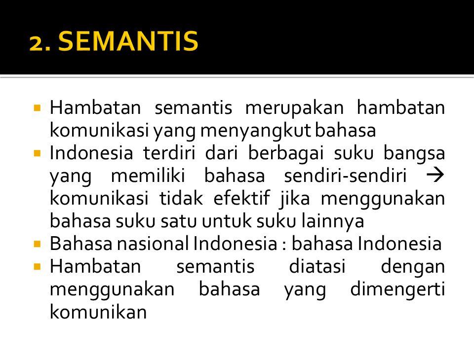 2. SEMANTIS Hambatan semantis merupakan hambatan komunikasi yang menyangkut bahasa.