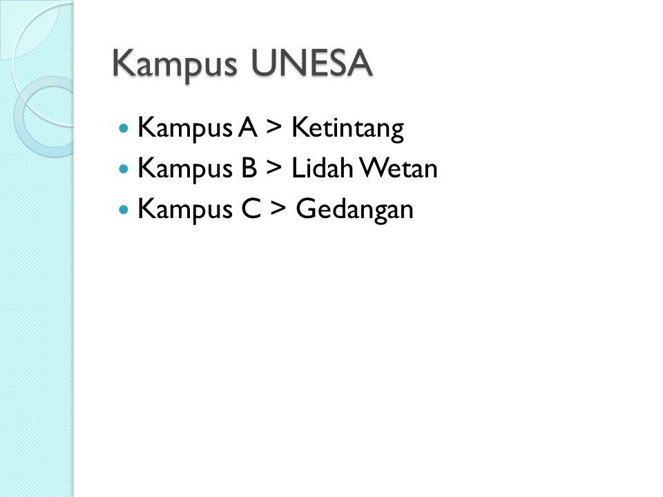 Kampus UNESA Kampus A > Ketintang Kampus B > Lidah Wetan