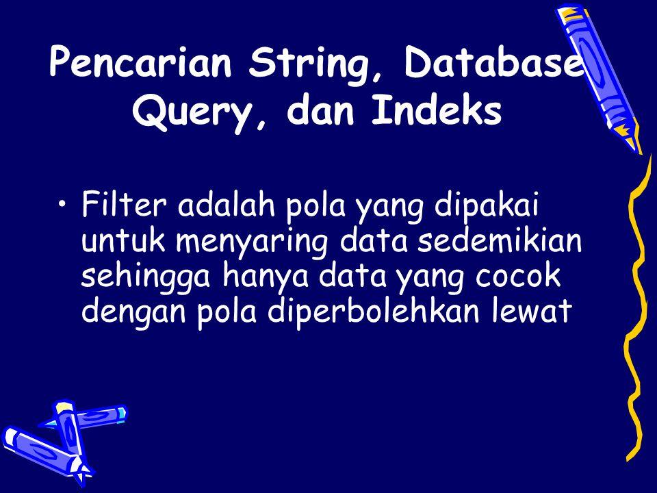 Pencarian String, Database Query, dan Indeks