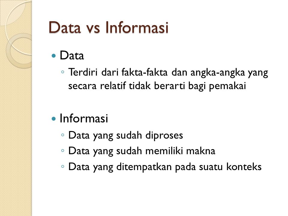 Data vs Informasi Data Informasi
