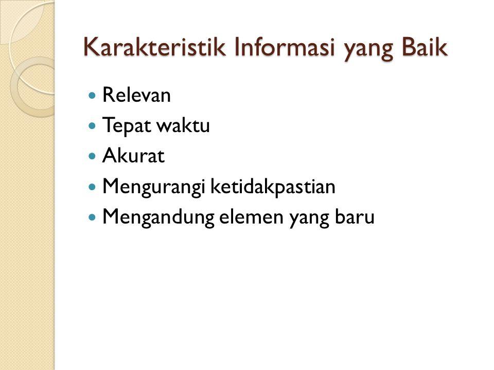 Karakteristik Informasi yang Baik