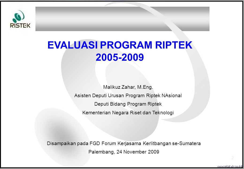 EVALUASI PROGRAM RIPTEK
