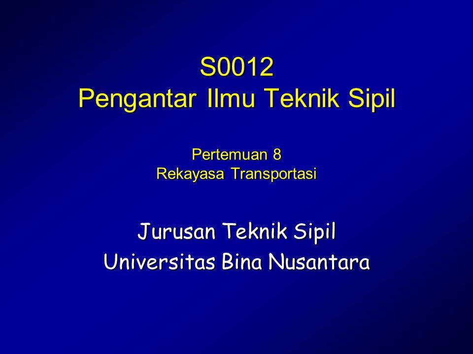 S0012 Pengantar Ilmu Teknik Sipil Pertemuan 8 Rekayasa Transportasi