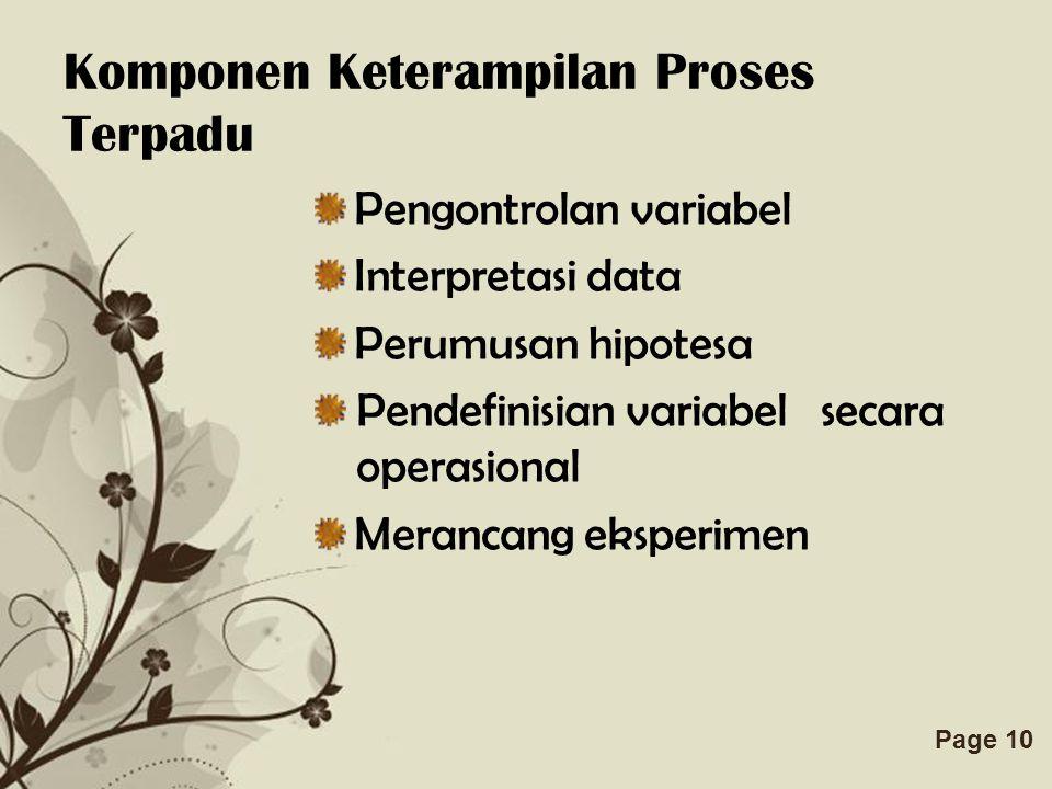 Komponen Keterampilan Proses Terpadu