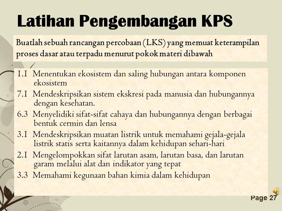 Latihan Pengembangan KPS