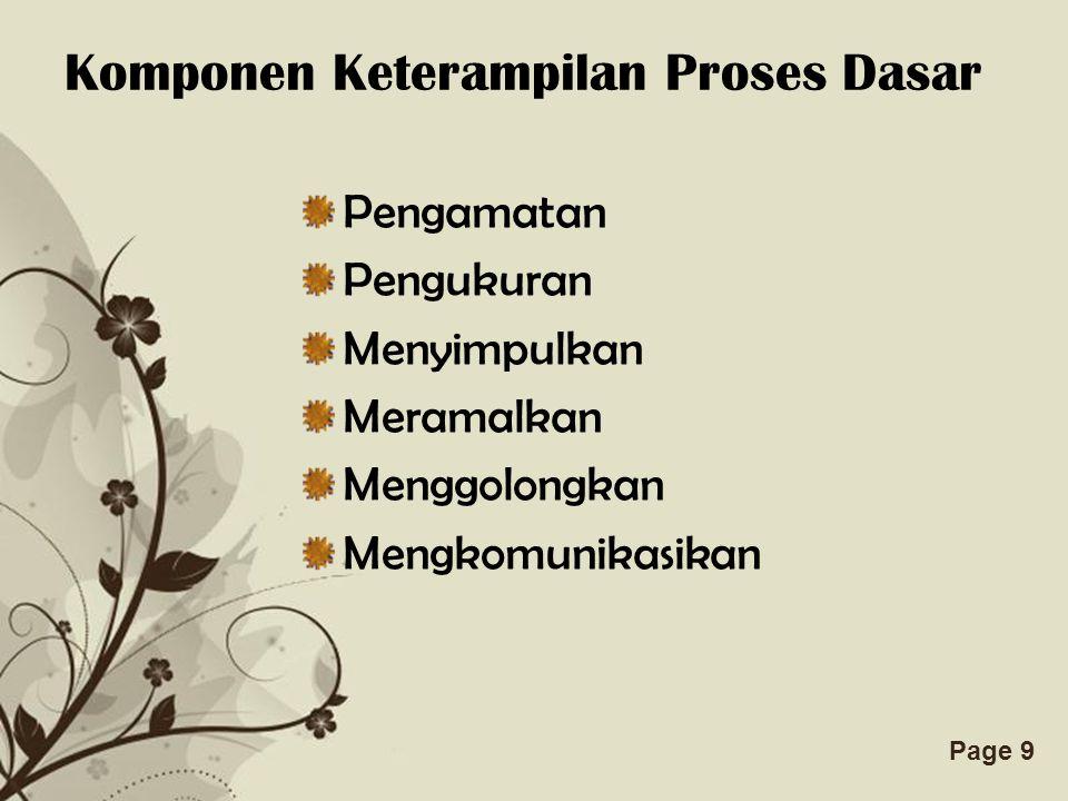 Komponen Keterampilan Proses Dasar