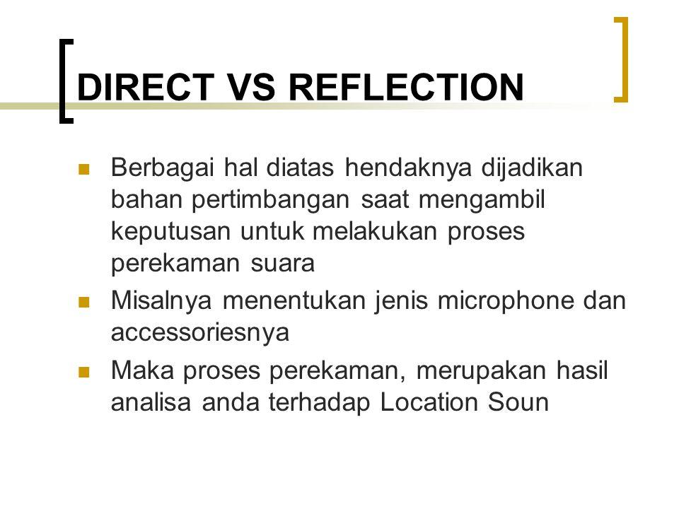 DIRECT VS REFLECTION Berbagai hal diatas hendaknya dijadikan bahan pertimbangan saat mengambil keputusan untuk melakukan proses perekaman suara.