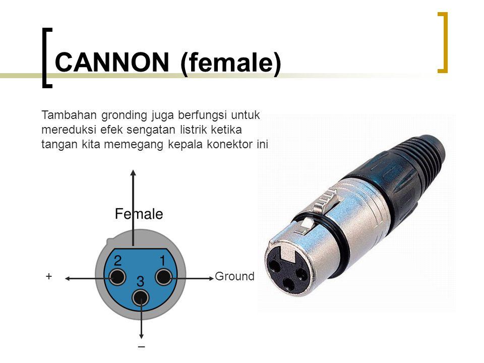 CANNON (female) Tambahan gronding juga berfungsi untuk mereduksi efek sengatan listrik ketika tangan kita memegang kepala konektor ini.
