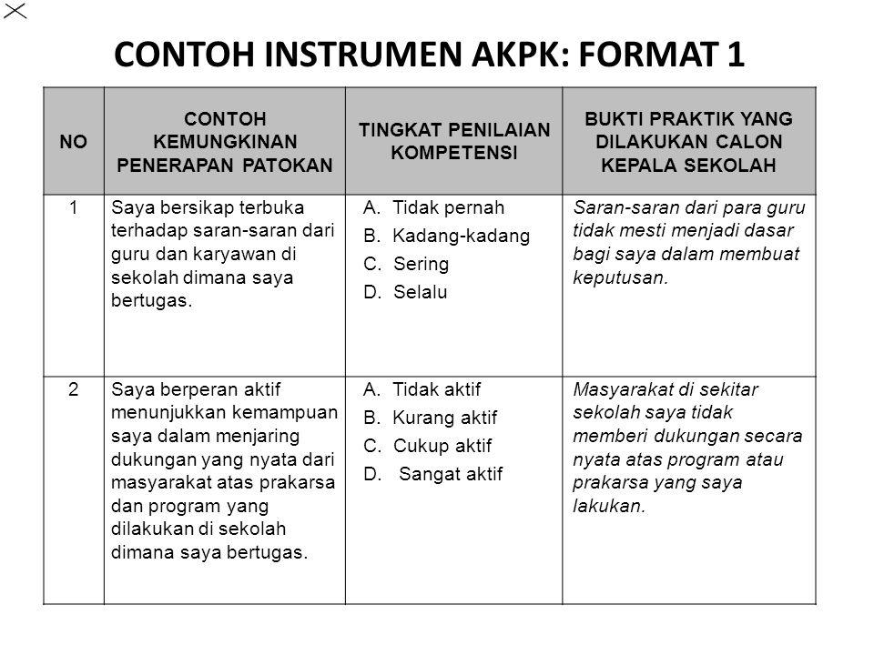 CONTOH INSTRUMEN AKPK: FORMAT 1