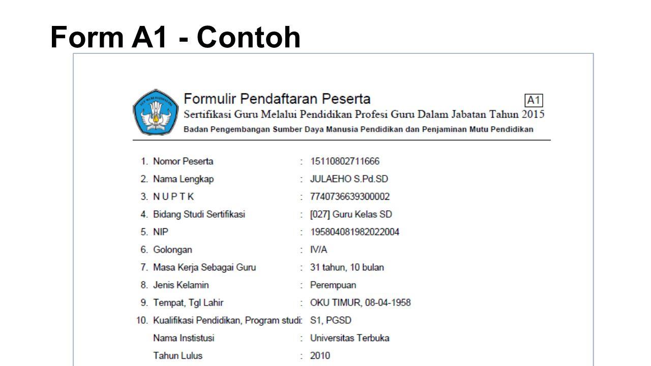 Form A1 - Contoh