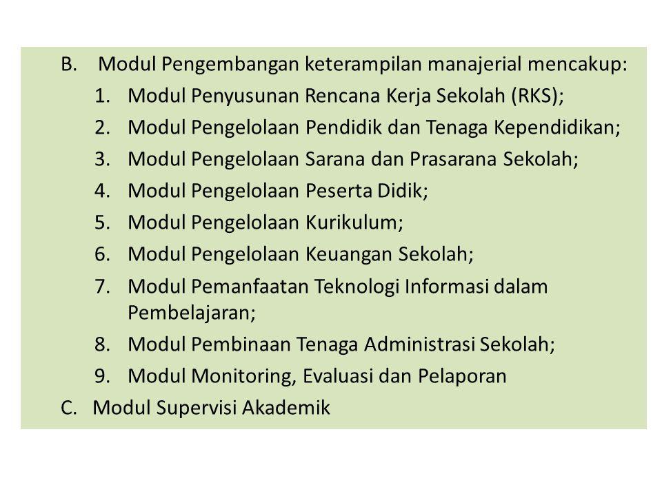 Modul Pengembangan keterampilan manajerial mencakup:
