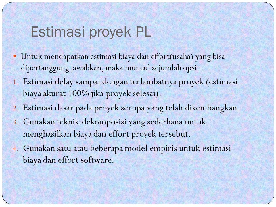 Estimasi proyek PL Untuk mendapatkan estimasi biaya dan effort(usaha) yang bisa dipertanggung jawabkan, maka muncul sejumlah opsi:
