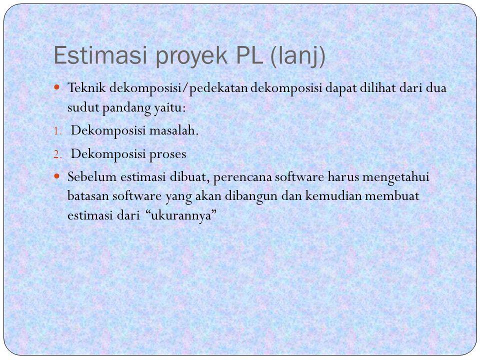 Estimasi proyek PL (lanj)