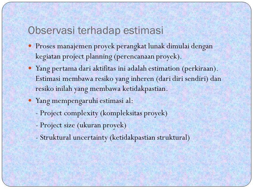 Observasi terhadap estimasi