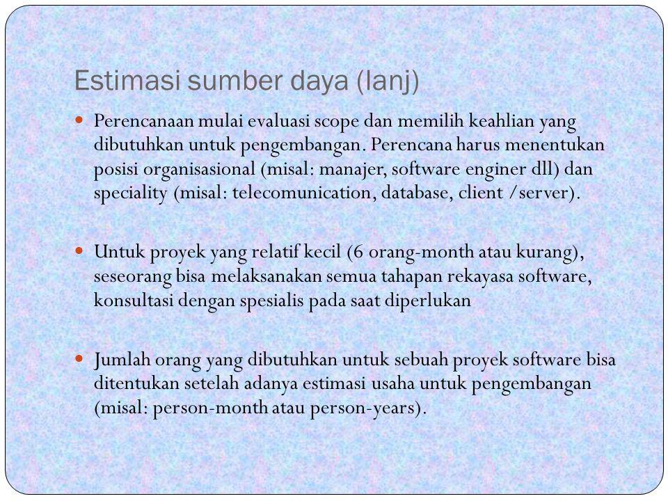 Estimasi sumber daya (lanj)
