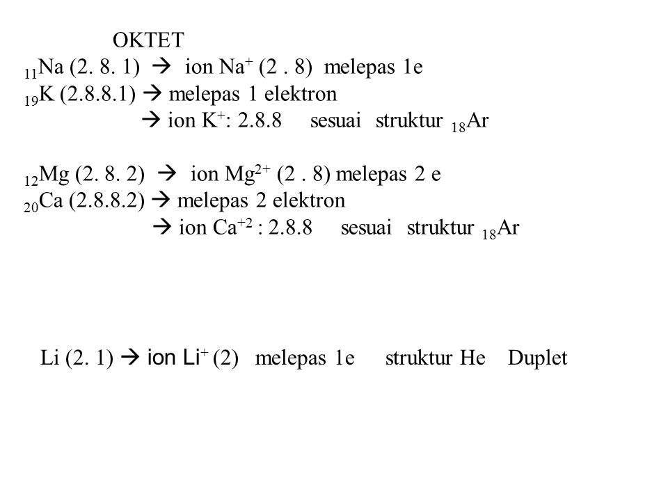 OKTET 11Na (2. 8. 1)  ion Na+ (2 . 8) melepas 1e. 19K (2.8.8.1)  melepas 1 elektron.  ion K+: 2.8.8 sesuai struktur 18Ar.