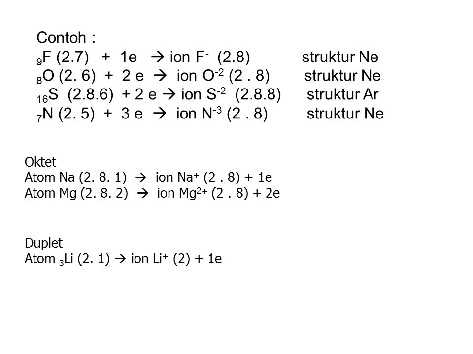 9F (2.7) + 1e  ion F- (2.8) struktur Ne