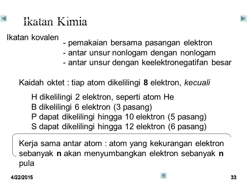 Ikatan Kimia Ikatan kovalen pemakaian bersama pasangan elektron