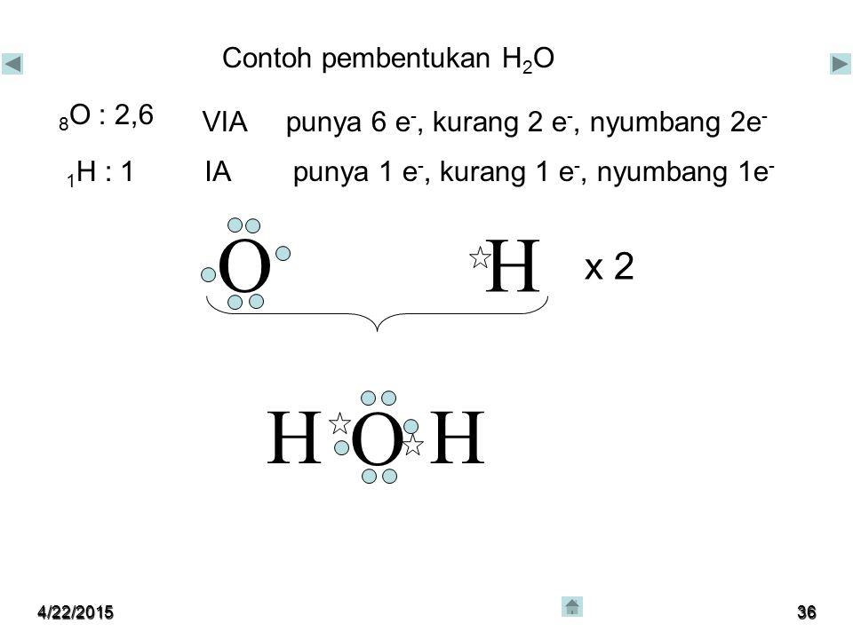O H H O H x 2 Contoh pembentukan H2O 8O : 2,6 VIA