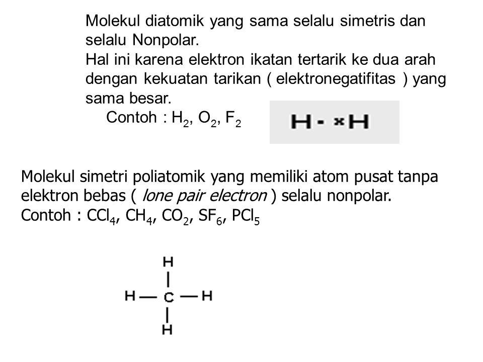 Molekul diatomik yang sama selalu simetris dan selalu Nonpolar.