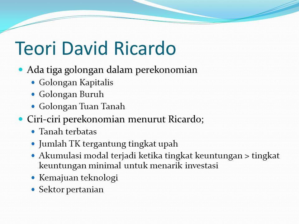 Teori David Ricardo Ada tiga golongan dalam perekonomian