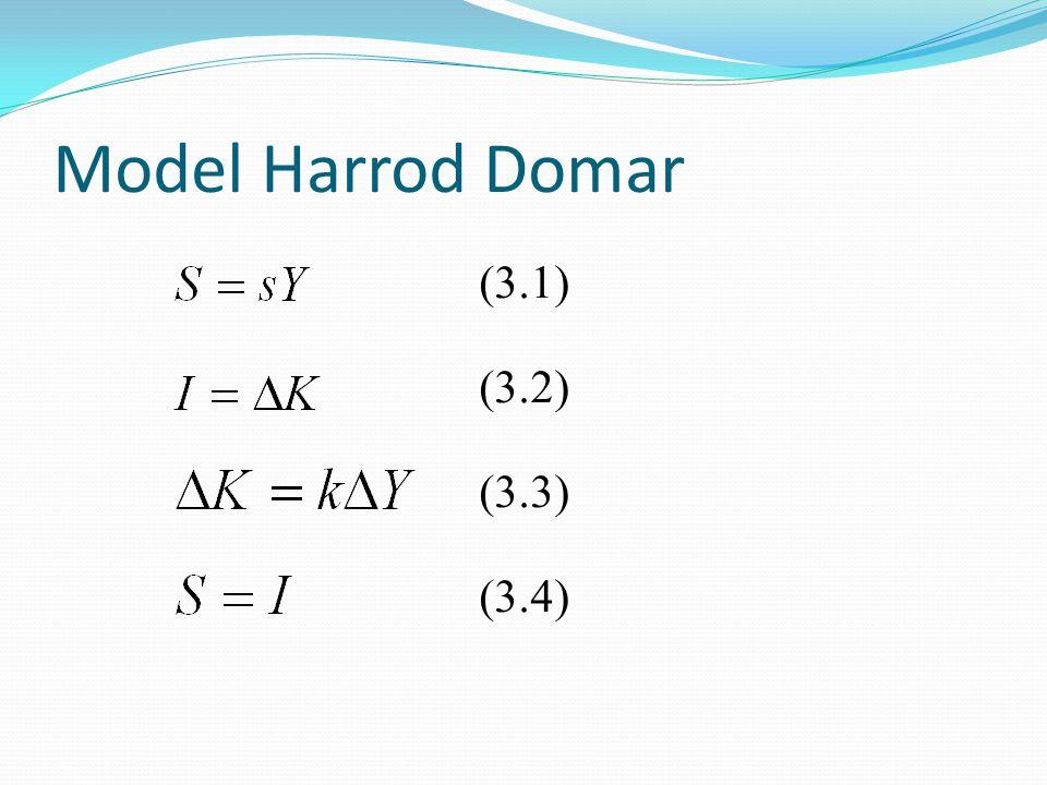 Model Harrod Domar (3.1) (3.2) (3.3) (3.4)