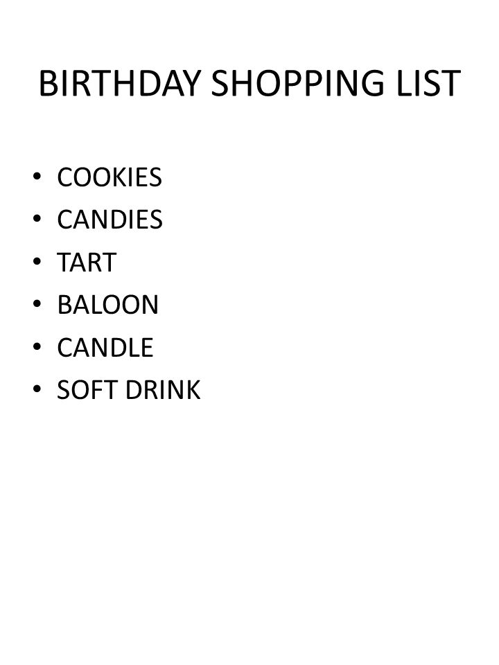 BIRTHDAY SHOPPING LIST