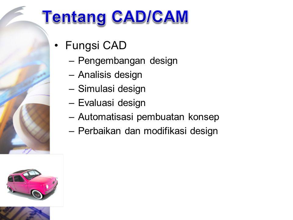 Tentang CAD/CAM Fungsi CAD Pengembangan design Analisis design