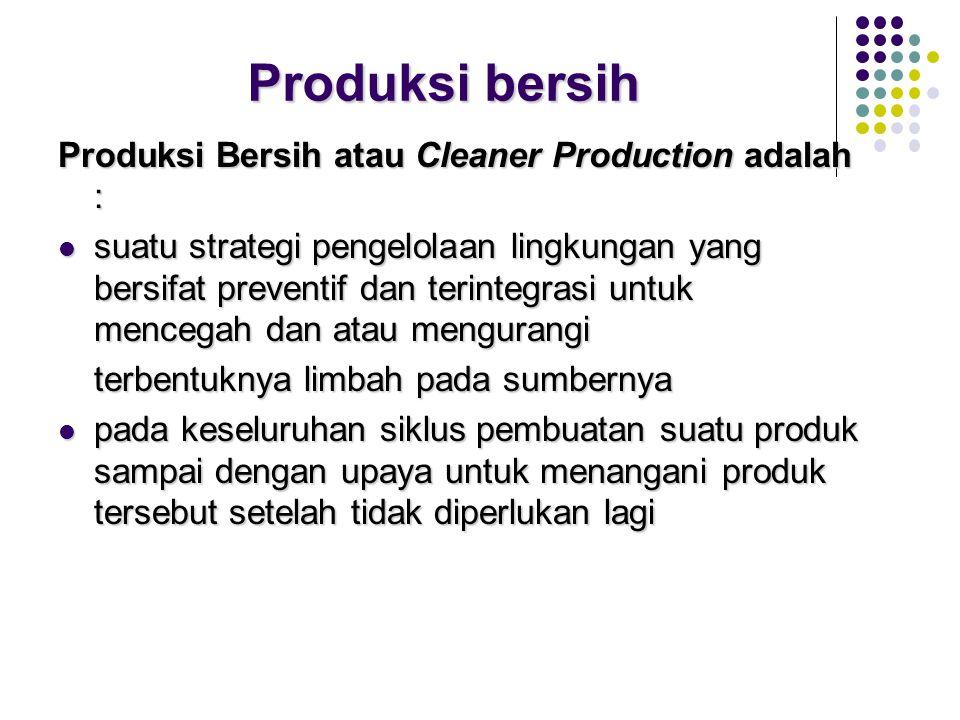 Produksi bersih Produksi Bersih atau Cleaner Production adalah :